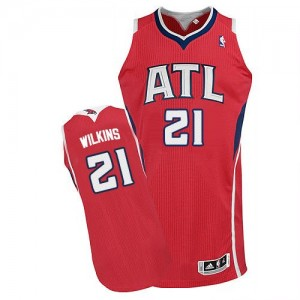 Maillot Adidas Rouge Alternate Authentic Atlanta Hawks - Dominique Wilkins #21 - Homme