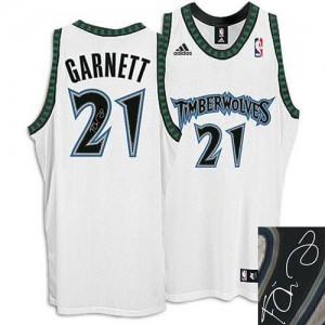 Maillot NBA Authentic Kevin Garnett #21 Minnesota Timberwolves Augotraphed Blanc - Homme