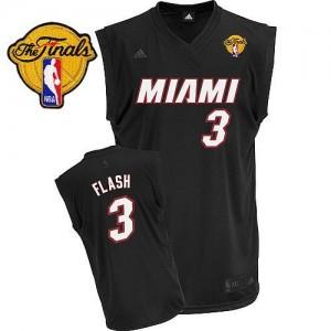 Miami Heat #3 Adidas Flash Fashion Finals Patch Noir Swingman Maillot d'équipe de NBA Vente - Dwyane Wade pour Homme