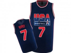 Team USA Nike Larry Bird #7 2012 Olympic Retro Authentic Maillot d'équipe de NBA - Bleu marin pour Homme