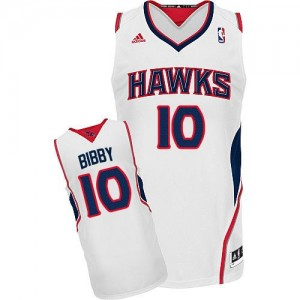 Maillot NBA Atlanta Hawks #10 Mike Bibby Blanc Adidas Swingman Home - Homme