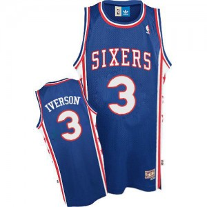 Maillot Authentic Philadelphia 76ers NBA Throwack Bleu - #3 Allen Iverson - Homme