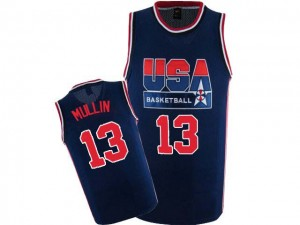 Maillot NBA Team USA #13 Chris Mullin Bleu marin Nike Authentic 2012 Olympic Retro - Homme