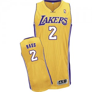 Maillot Authentic Los Angeles Lakers NBA Home Or - #2 Brandon Bass - Homme