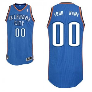 Maillot Adidas Bleu royal Road Oklahoma City Thunder - Authentic Personnalisé - Homme