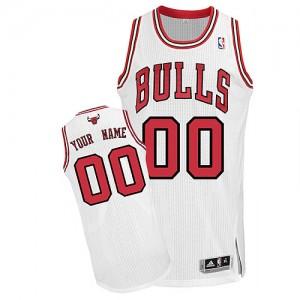 Chicago Bulls Authentic Personnalisé Home Maillot d'équipe de NBA - Blanc pour Enfants