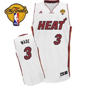 Maillot Swingman Miami Heat NBA Home Finals Patch Blanc - #3 Dwyane Wade - Enfants
