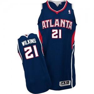 Maillot Authentic Atlanta Hawks NBA Road Bleu marin - #21 Dominique Wilkins - Homme