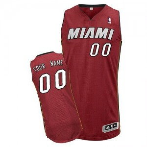 Maillot NBA Authentic Personnalisé Miami Heat Alternate Rouge - Homme