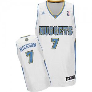 Maillot NBA Blanc JJ Hickson #7 Denver Nuggets Home Swingman Homme Adidas