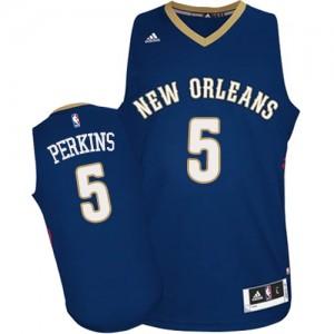 New Orleans Pelicans Kendrick Perkins #5 Road Authentic Maillot d'équipe de NBA - Bleu marin pour Homme