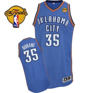 Maillot NBA Bleu royal Kevin Durant #35 Oklahoma City Thunder Road Finals Patch Authentic Homme Adidas