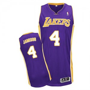 Los Angeles Lakers Byron Scott #4 Road Authentic Maillot d'équipe de NBA - Violet pour Homme