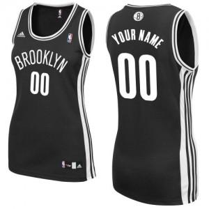 Maillot Adidas Noir Road Brooklyn Nets - Swingman Personnalisé - Femme