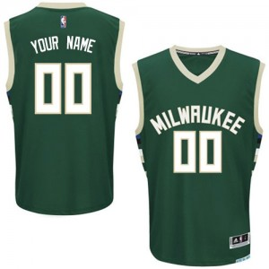 Maillot NBA Vert Authentic Personnalisé Milwaukee Bucks Road Homme Adidas