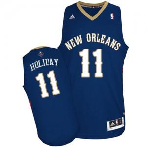 Maillot NBA New Orleans Pelicans #11 Jrue Holiday Bleu marin Adidas Swingman Road - Homme