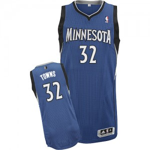 Maillot Authentic Minnesota Timberwolves NBA Road Slate Blue - #32 Karl-Anthony Towns - Homme