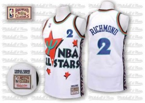 Maillot NBA Blanc Mitch Richmond #2 Sacramento Kings Throwback 1995 All Star Authentic Homme Adidas