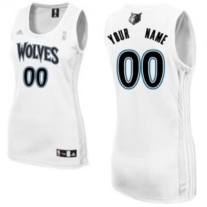 Maillot NBA Blanc Swingman Personnalisé Minnesota Timberwolves Home Femme Adidas