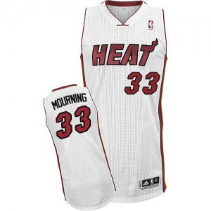 Maillot Adidas Blanc Home Authentic Miami Heat - Alonzo Mourning #33 - Homme