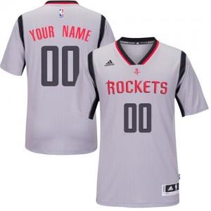 Houston Rockets Personnalisé Adidas Alternate Gris Maillot d'équipe de NBA en vente en ligne - Authentic pour Homme
