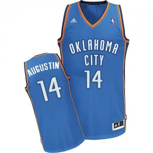 Maillot NBA Oklahoma City Thunder #14 D.J. Augustin Bleu royal Adidas Swingman Road - Homme