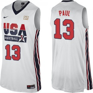 Maillot NBA Authentic Chris Paul #13 Team USA 2012 Olympic Retro Blanc - Homme