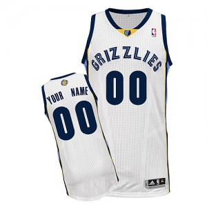 Maillot NBA Blanc Authentic Personnalisé Memphis Grizzlies Home Homme Adidas