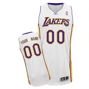 Maillot NBA Los Angeles Lakers Personnalisé Authentic Blanc Adidas Alternate - Enfants