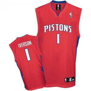 Maillot NBA Rouge Allen Iverson #1 Detroit Pistons Authentic Homme Adidas