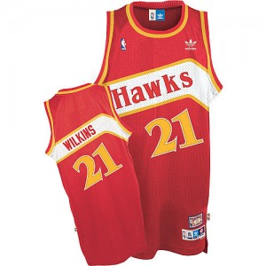 Maillot NBA Authentic Dominique Wilkins #21 Atlanta Hawks Throwback Rouge - Homme