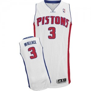 Maillot Authentic Detroit Pistons NBA Home Blanc - #3 Ben Wallace - Homme