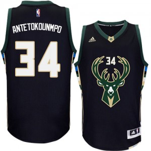 Maillot NBA Noir Giannis Antetokounmpo #34 Milwaukee Bucks Alternate Authentic Homme Adidas