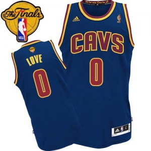Maillot NBA Cleveland Cavaliers #0 Kevin Love Bleu marin Adidas Swingman 2015 The Finals Patch - Enfants