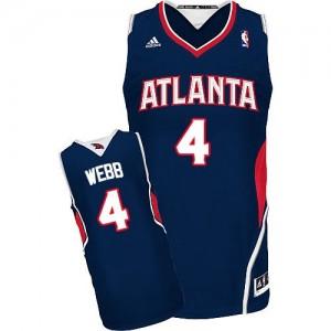 Maillot NBA Bleu marin Spud Webb #4 Atlanta Hawks Road Swingman Homme Adidas