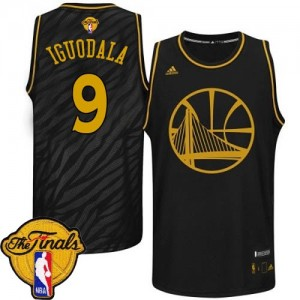 Maillot NBA Golden State Warriors #9 Andre Iguodala Noir Adidas Authentic Precious Metals Fashion 2015 The Finals Patch - Homme