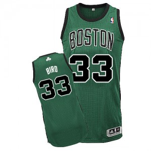Maillot NBA Vert (No. noir) Larry Bird #33 Boston Celtics Alternate Authentic Homme Adidas