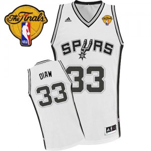 Maillot NBA San Antonio Spurs #33 Boris Diaw Blanc Adidas Swingman Home Finals Patch - Homme