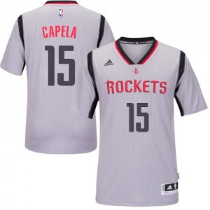 Maillot NBA Gris Clint Capela #15 Houston Rockets Alternate Authentic Homme Adidas