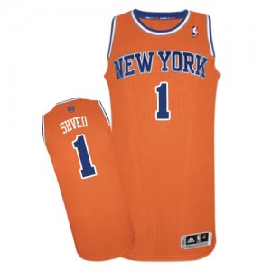 Maillot NBA Orange Alexey Shved #1 New York Knicks Alternate Authentic Homme Adidas