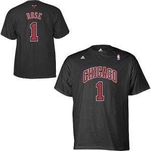 Chicago Bulls #1 Adidas Game Time Noir T-Shirt d'équipe de NBA Remise - Derrick Rose pour Homme