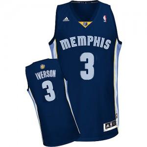 Memphis Grizzlies Allen Iverson #3 Road Authentic Maillot d'équipe de NBA - Bleu marin pour Homme