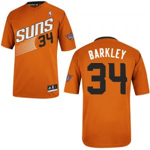 Maillot NBA Phoenix Suns #34 Charles Barkley Orange Adidas Authentic Alternate - Homme