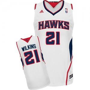 Atlanta Hawks Dominique Wilkins #21 Home Swingman Maillot d'équipe de NBA - Blanc pour Homme