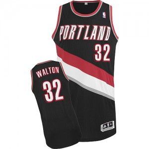 Maillot NBA Noir Bill Walton #32 Portland Trail Blazers Road Authentic Homme Adidas