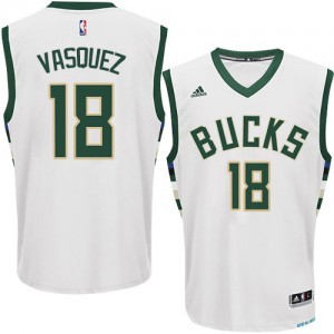 Maillot NBA Blanc Greivis Vasquez #18 Milwaukee Bucks Home Authentic Homme Adidas