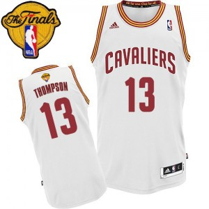 Maillot NBA Cleveland Cavaliers #13 Tristan Thompson Blanc Adidas Swingman Home 2015 The Finals Patch - Homme