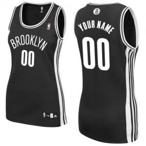Maillot NBA Brooklyn Nets Personnalisé Authentic Noir Adidas Road - Femme