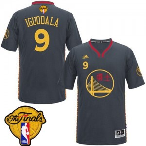 Maillot NBA Noir Andre Iguodala #9 Golden State Warriors Slate Chinese New Year 2015 The Finals Patch Authentic Homme Adidas