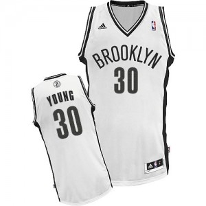 Maillot NBA Brooklyn Nets #30 Thaddeus Young Blanc Adidas Swingman Home - Enfants